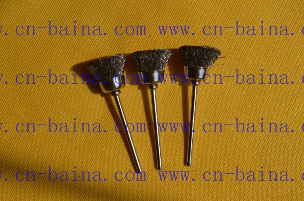 cup shape silver color brush Crimped steel brush